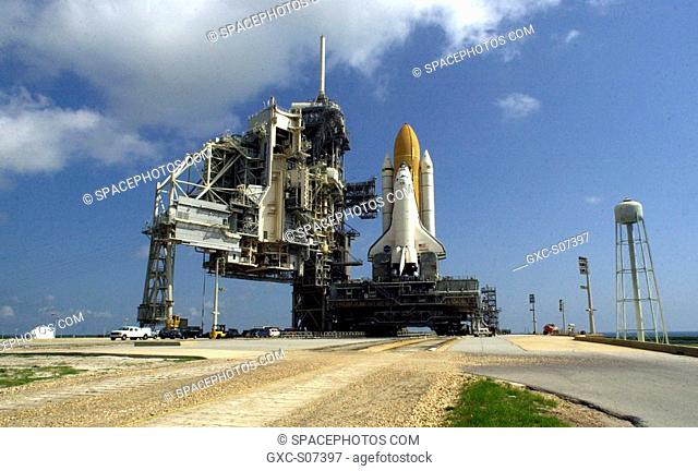 06/21/2001 -- After a journey of more than 8 hours from the Vehicle Assembly Building, Space Shuttle Atlantis sits on Launch Pad 39B