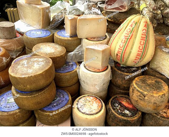 Different cheese in market in Alghero, Sardinia, Italy
