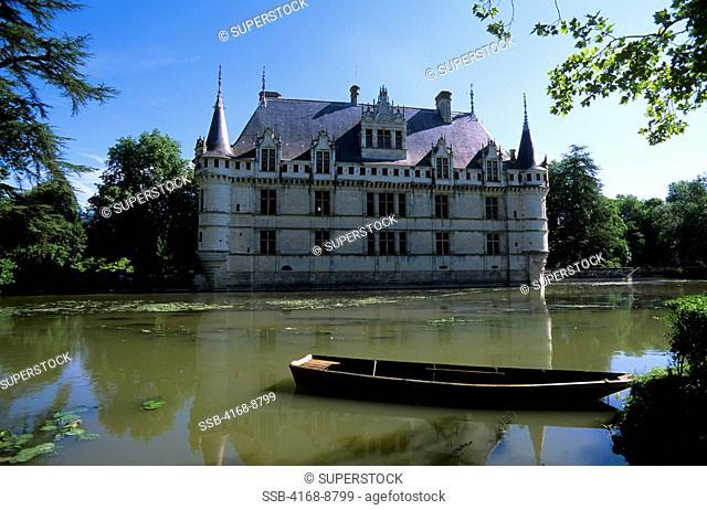 France, Loire Region, Near Chinon, Azay-Le-Rideau Chateaux, Castle with Moat