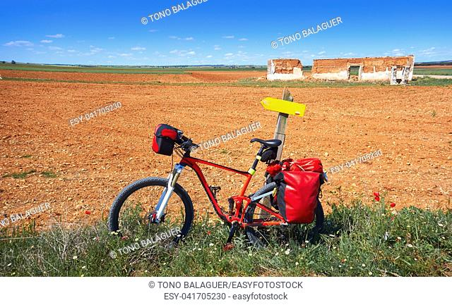 Camino de santiago pilgrim bicycle sign Saint James Way of Levante