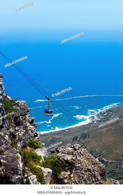 South Africa, Cape Town, view from the Table Mountain, Cableway