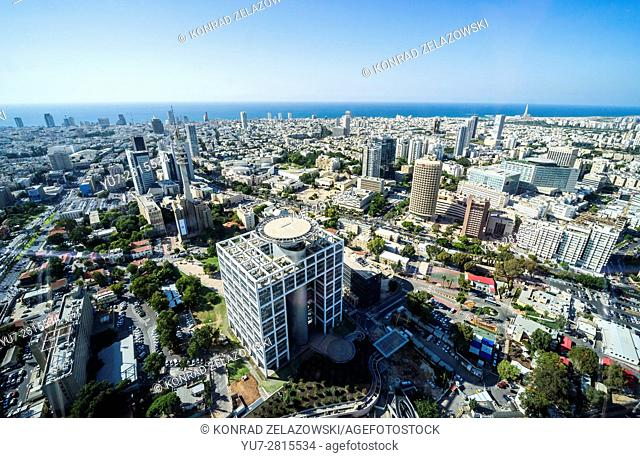 Matcal Tower in Camp Yitzhak Rabin - HaKirya in Tel Aviv city, Israel. Aerial view from. Azrieli Center Circular Tower