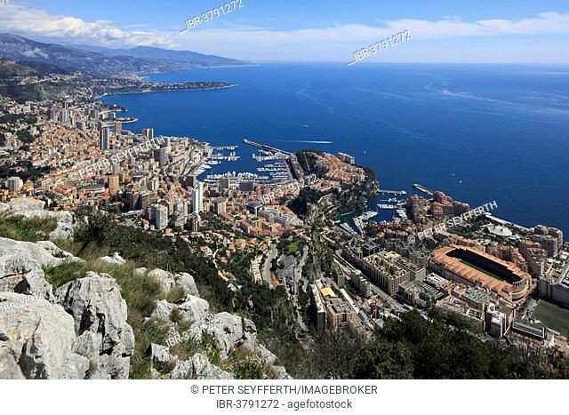 View of the Principality of Monaco from the Tête du Chien, Mediterranean