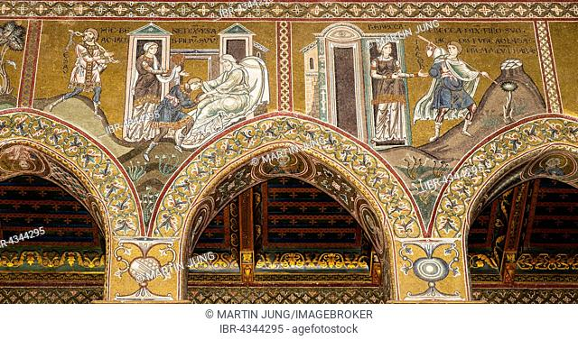 Byzantine mosaics, Isaac blesses Jacob and Jacob flees, northern wall of the central nave, Old Testament, Monreale Cathedral or Santa Maria Nuova Cathedral