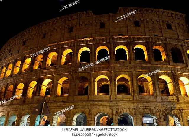Rome (Italy). Night view of the Colosseum in Rome