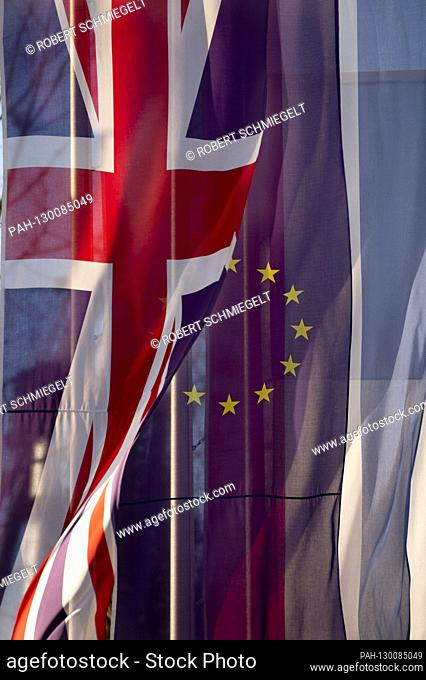 Flags of Europe and United Kingdom at Europa Park. Rust, February 20, 2020 | usage worldwide. - Rust/Baden-Würtemberg/Deutschland
