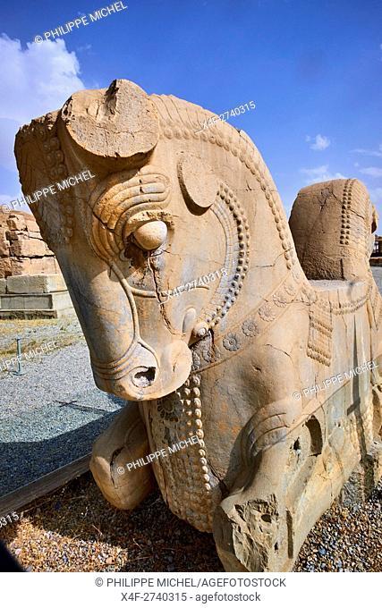 Iran, Fars Province, Persepolis, World Heritage of the UNESCO, pillars of the Apadane palace