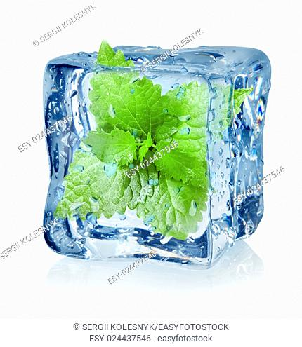 Ice cube and mint isolated on a white background