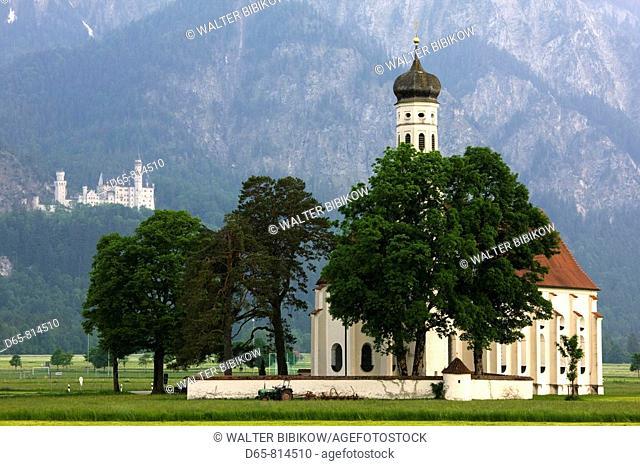 St. Coloman's church by the Konigschlosser castles, Schwangau, Deutsche Alpenstrasse, Bavaria, Germany