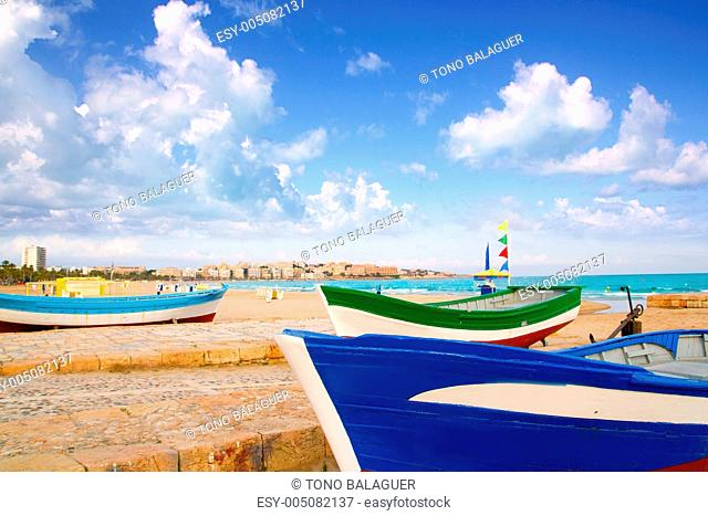 beach of Salou with beached boats