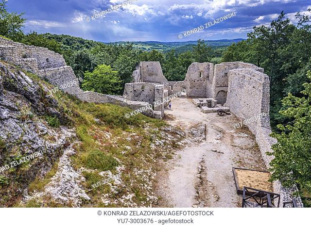 Ruins of castle in Smolen village, part of the Eagles Nests castle system in Silesian Voivodeship of southern Poland