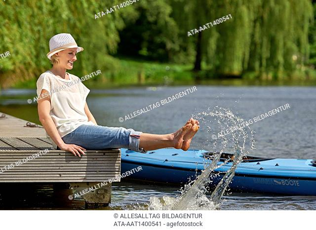 Woman enjoying the cold water