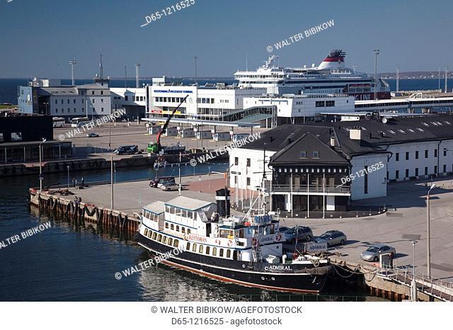 Estonia, Tallinn, Passenger Port, elevated view