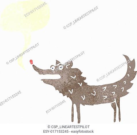 retro cartoon wolf with speech bubble