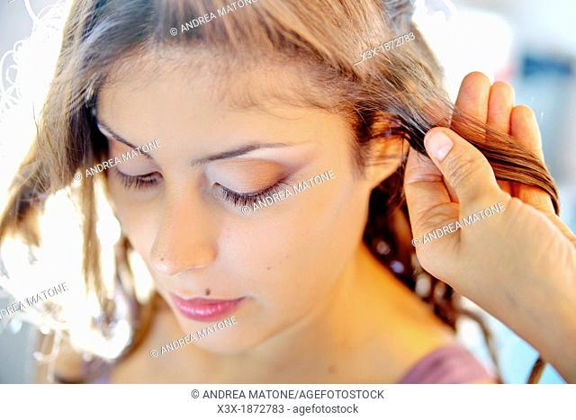 Woman hair styling