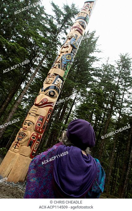 New totem pole by Christian White and apprentices at Hiellen Longhouse Village, Tow Hill, Haida Gwaii, formerly known as Queen Charlotte Islands