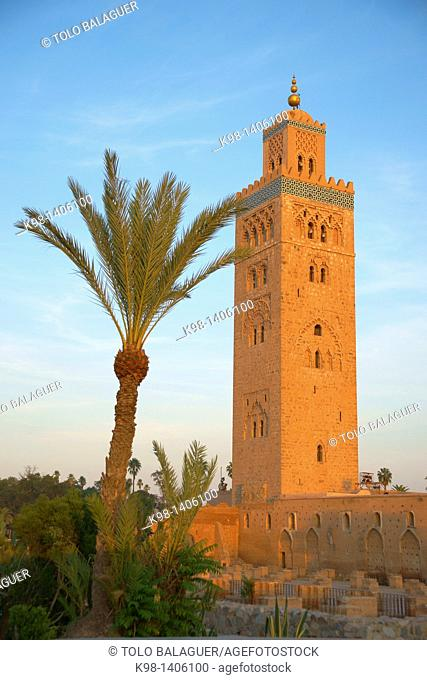 Kutubiyya mosque in the twelfth century Imperial City Djem'a el-Fna Square Morocco Marrakech Africa