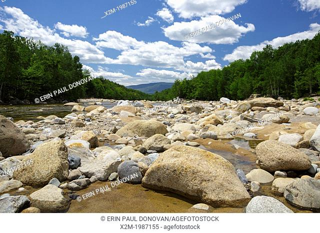 Looking down the East Branch of the Pemigewasset River during the spring months in Lincoln, New Hampshire USA