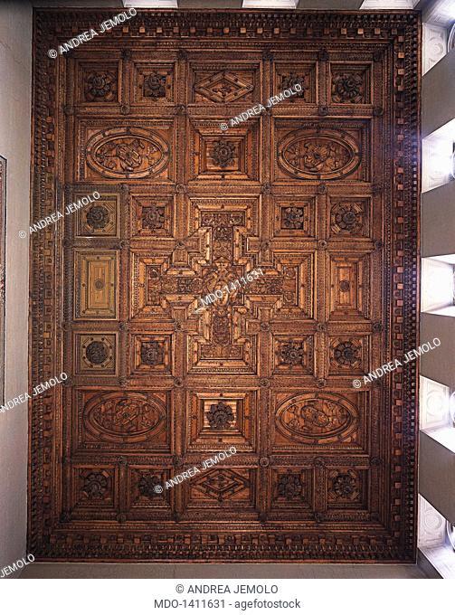 Villa Farnese, ceiling of the Great Hall (Palazzo Farnese, soffitto della Sala Grande), by Barozzi Jacopo known as Vignola, 1565, 16th Century