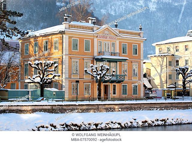 Lehar Villa and spa promenade on the Traun River, Bad Ischl, Salzkammergut region, Upper Austria, Austria