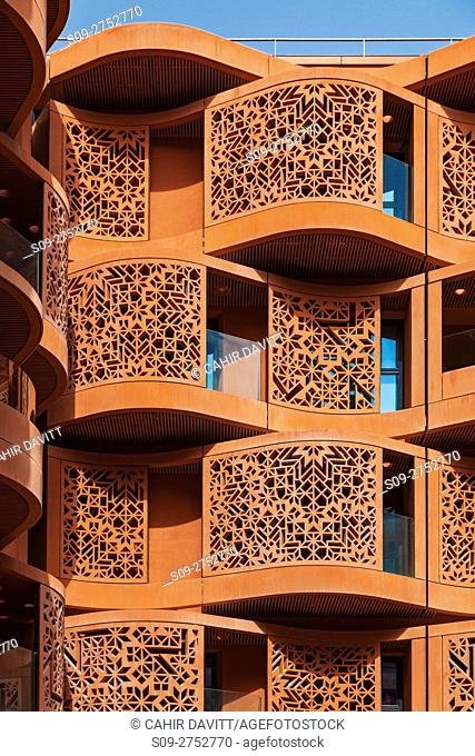 Architectural terracota facades of the Masdar Institute of Science and Technology, Masdar City, Abu Dhabi, United Arab Emirates