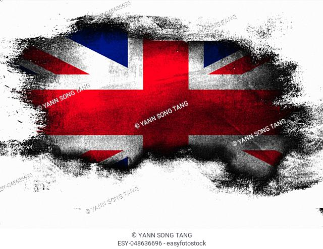 United Kingdom flag painted with brush on white background, 3D rendering