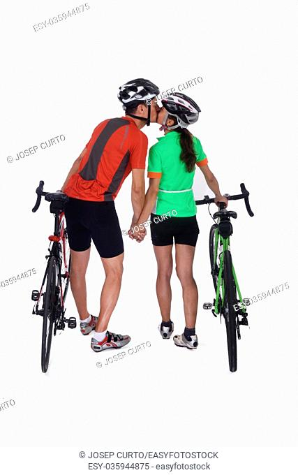 Couple with bike isolated on white, kiss each