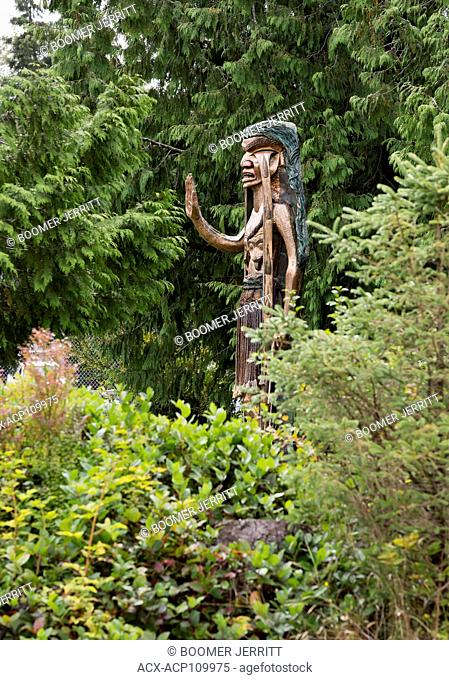 Iconic carving Weeping Cedar Woman was carved by Godfrey Stephens to protest logging in Clayoquot Sound and now stands near Tofino's community park, Tofino