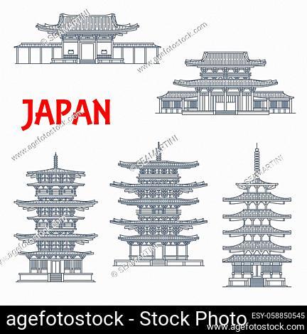 Japan landmarks icons, temples and Japanese pagodas, in Ikaruga Nara, Japan, vector. Japanese Buddhist architecture buildings Horyu-ji, Toto and Eastern pagoda