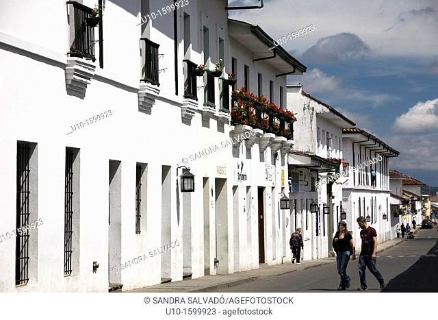 Street view of the colonial town of Popayán, Colombia, South America
