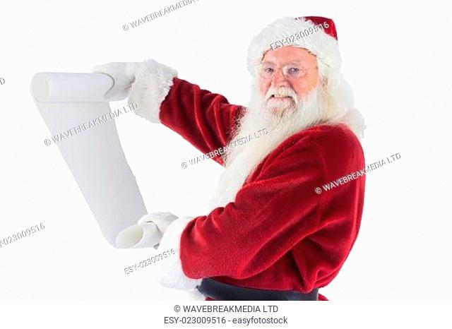 Father Christmas holds a list