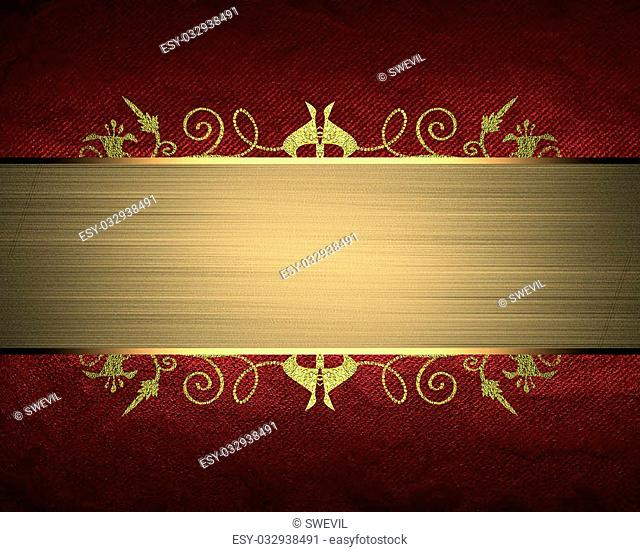 Red texture with gold ribbon. Element for design. Template for design. copy space for ad brochure or announcement invitation, abstract background