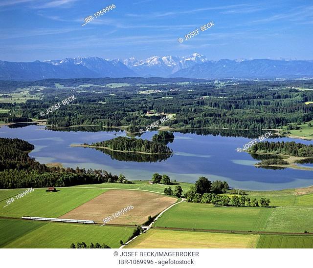 Aerial picture, Osterseen Lakes near Iffeldorf, regionalbahn, local train, Wetterstein Range, Upper Bavaria, Germany, Europe