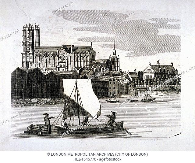 View of Westminster Abbey, London, c1780. View from the South Bank looking north-east. In the foreground a water vessel can be seen on the River Thames