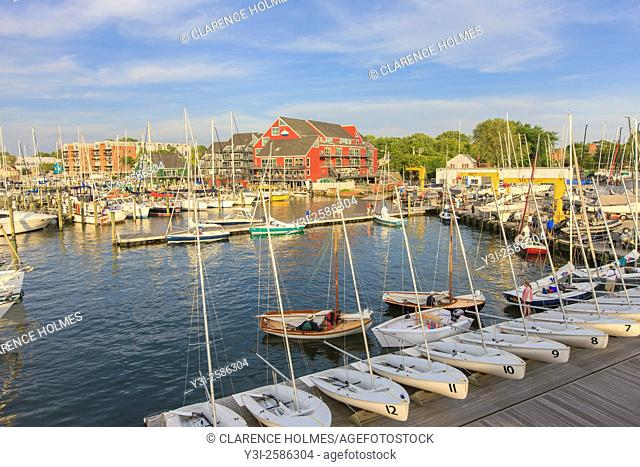 Yachts and sailboats return to their slips in the Annapolis Yacht Club on Spa Creek after Wednesday Night Racing activities in Annapolis, Maryland