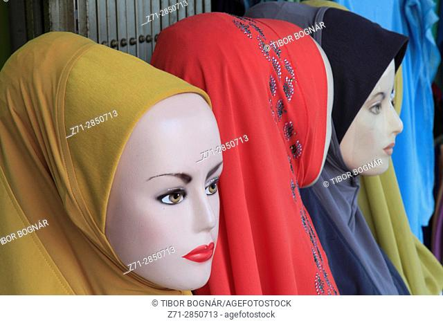 Malaysia, Kuala Lumpur, shop window, hijab, muslim headgear,
