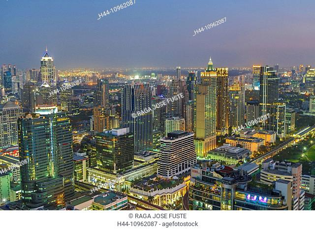 Bangkok, City, Downtown, Thailand, Asia, architecture, buildings, city, clear, colourful, high, metropolis, panorama, skyline, skyscrapers, sunset, touristic