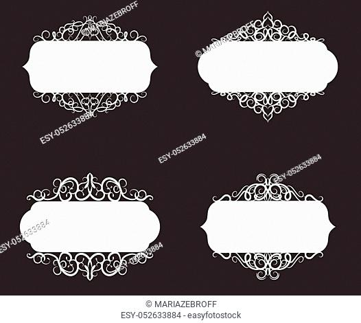 Vector illustration of old style retro vintage label collection