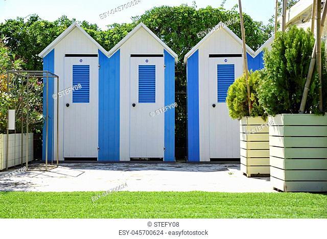 beach cabins in Versilia, Tuscany, Italy