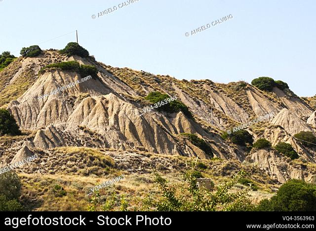 Lunar-like badlands near Aliano, Basilicata, Italy, Europe