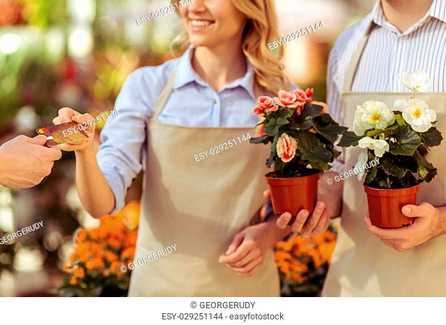 Young woman and man in aprons are holding plants and smiling while standing in orangery. Another man giving a credit card, close-up