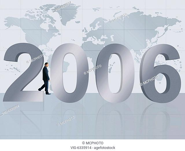 business man walking behind the new 2006 year - 01/01/2019