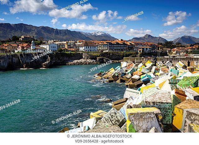 Cubos de la Memoria by artist Agustín Ibarrola. Fishing port Marina. Fishing village of Llanes, Cantabrian Sea, Asturias, Spain Europe