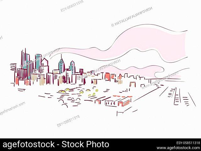 Philadelphia Pennsylvania usa America vector sketch city illustration