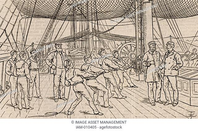 Naval cadets on the Royal Navy training ship HMS Worcester. Hauling on reefing tackle during sailing drill. Woodcut, London, 1888