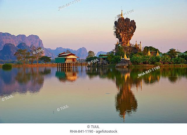 Kyauk Kalap Monastery, Hpa-An, Karen State, Myanmar (Burma), Asia