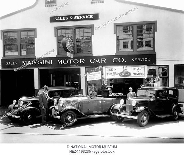 1932 Ford V8 in front of a car showroom, (c1932?). In 1932, Henry Ford introduced his last great personal engineering triumph, the cast-in-one-piece, V8 engine