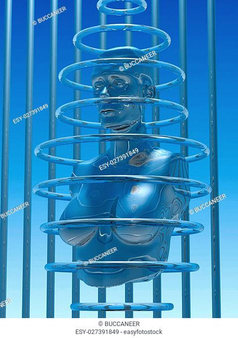 illustration (3d render) of metallic woman sculpture