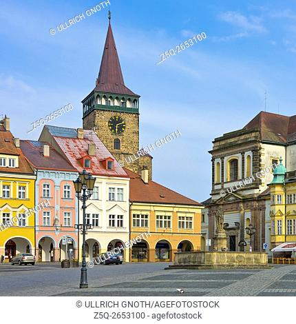Wallenstein Square, which shows Valdice Gate, Jacob's Church and Chateau in the town of Jitschin, Czech Republic