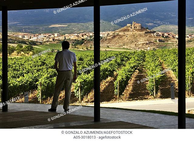 San Vicente de la Sonsierra view from Wine Museum in Dinastia Vivanco Wine Cellar. Briones. La Rioja. Spain